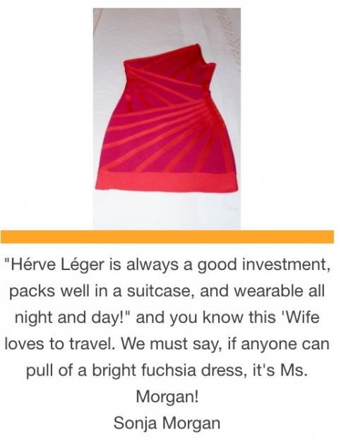 Sonja Morgan's Herve Leger fuchsia dress