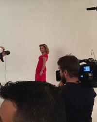 Sonja Morgan behind the scenes shooting her cover for Latino Show Magazine wearing a dress from her Sonja New York Collection