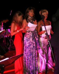 Sonja Morgan singing with Kathy Barrese and Ivana Trump